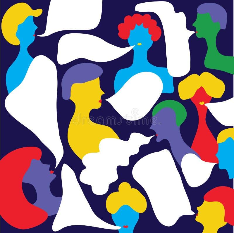 Folk som talar med bubblor - abstrakt illustration stock illustrationer