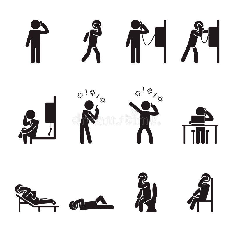 Folk som talar på den manliga symbolsuppsättningen för telefon vektor stock illustrationer