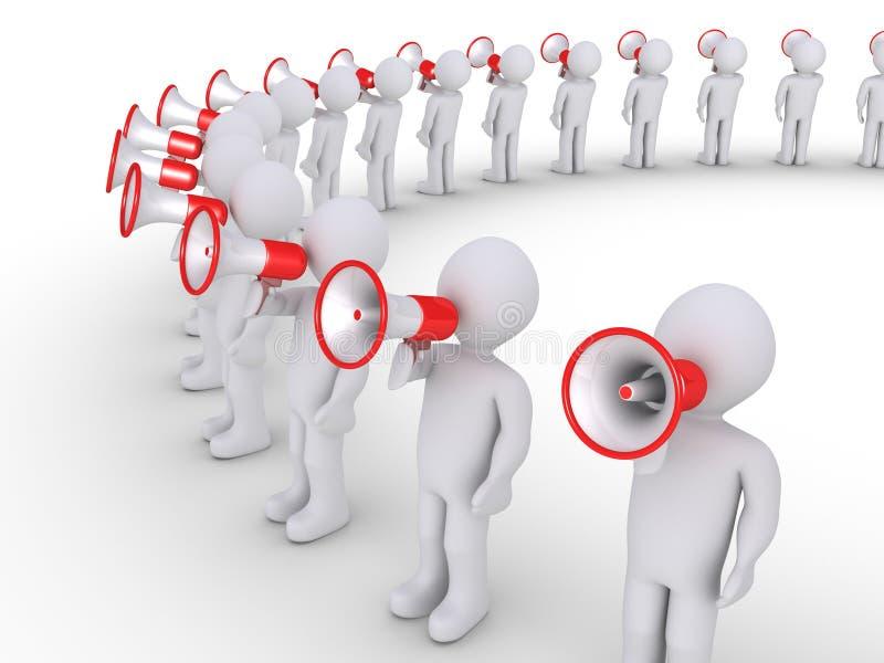 Folk som talar till och med megafoner royaltyfri illustrationer