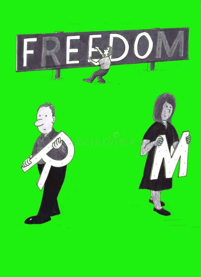Folk som tar bort bokstäver från ett frihetstecken royaltyfri illustrationer