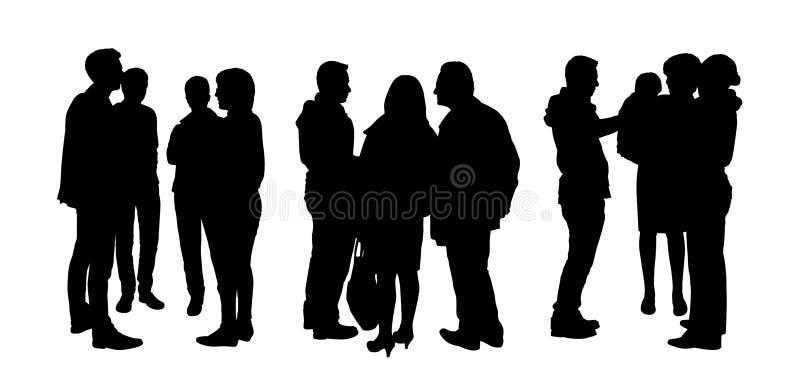 Folk som till varandra talar konturuppsättning 1 arkivfoton