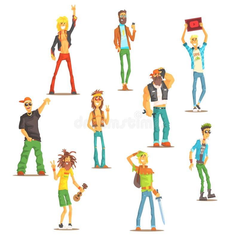 Folk som tillhör den olika subkulturuppsättningen av igenkännliga tecknad filmtecken med kulturella gruppattribut stock illustrationer