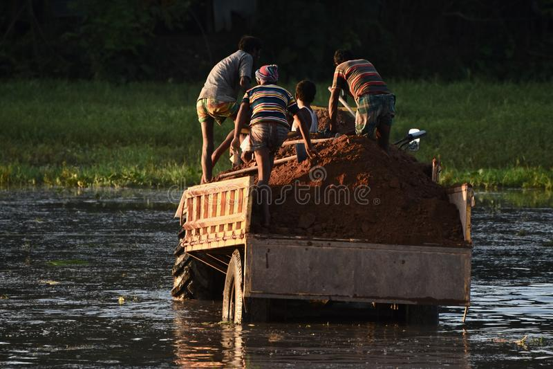 Folk som tillsammans arbetar på ett unikt foto för traktormedel royaltyfri fotografi