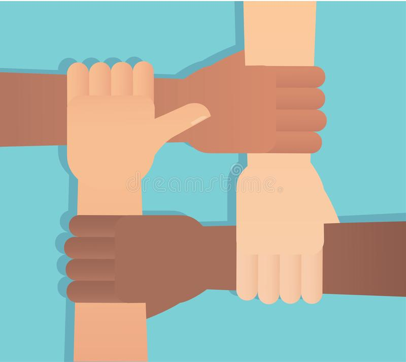 Folk som tillsammans s?tter deras h?nder st?lla upp som frivillig den plana illustrationen f?r vektorn royaltyfri illustrationer