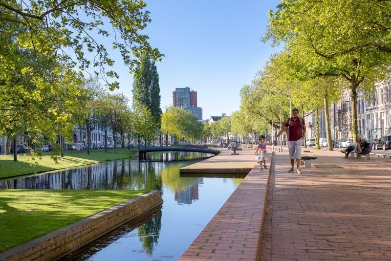 Folk som tycker om en promenera den Westersingel boulevarden i Rotterdam arkivbild