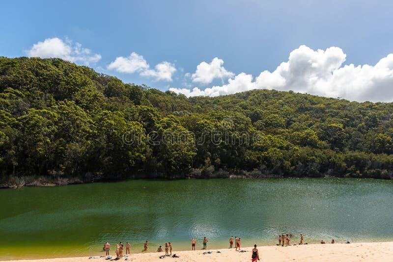 Folk som tycker om sjön Wabby i Fraser Island, Queensland, Australien arkivfoto