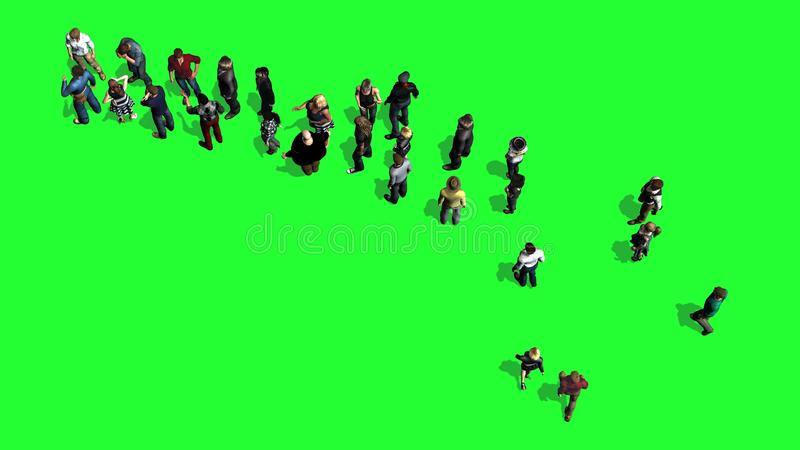 Folk som väntar i linjen - bästa sikt på den gröna skärmen vektor illustrationer