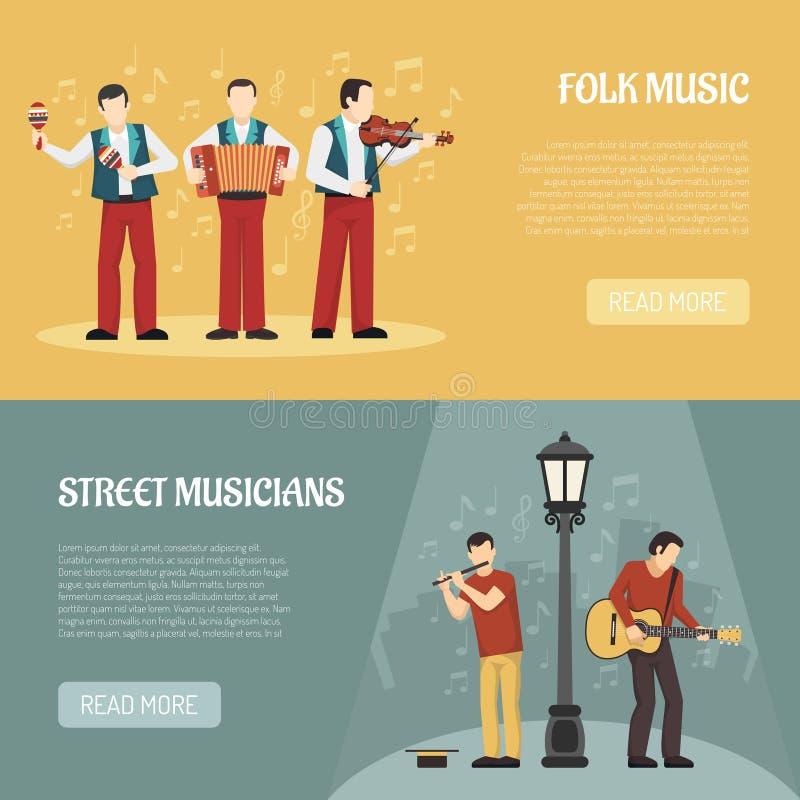 Folk And Street Musicians Horizontal Banners stock illustration