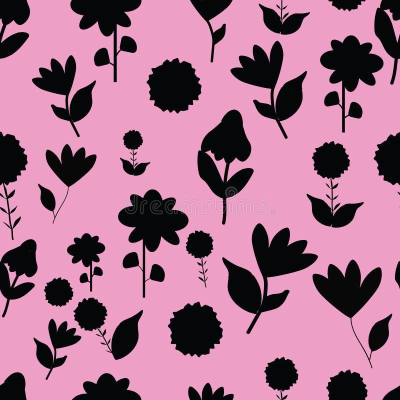Folk svarta blommor på seameless repetition för rosa bakgrund royaltyfri illustrationer