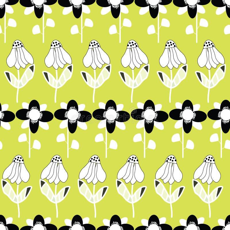 Folk svartvita blommor på repetition för bakgrund för limefrukt grön seameless stock illustrationer