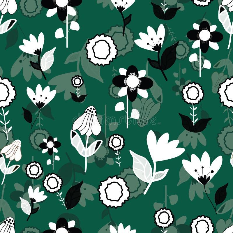 Folk svartvita blommor på seameless repetition för grön bakgrund royaltyfri illustrationer