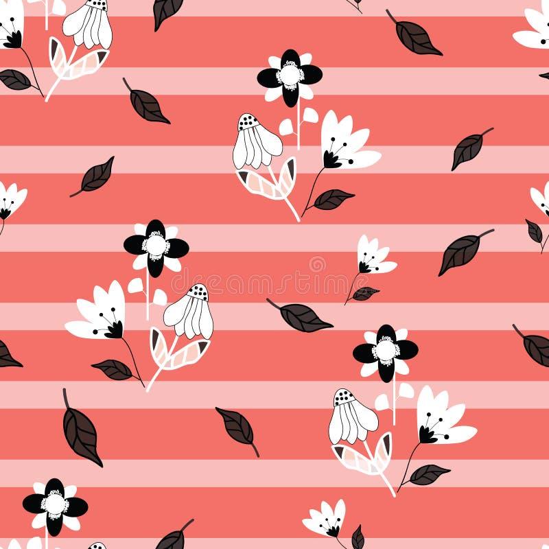 Folk svartvita blommor på seameless repetition för rosa färger och för randig bakgrund för korall royaltyfri illustrationer