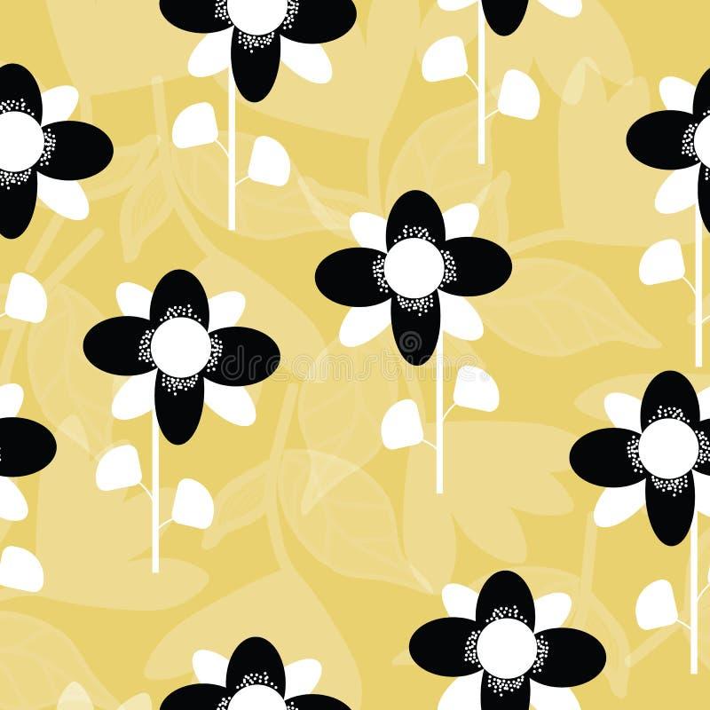 Folk svartvita blommor på seameless repetition för senapsgult bakgrund royaltyfri illustrationer