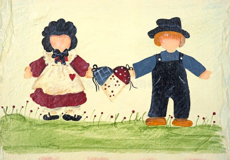 folk två för holding för konstkorg folk stock illustrationer