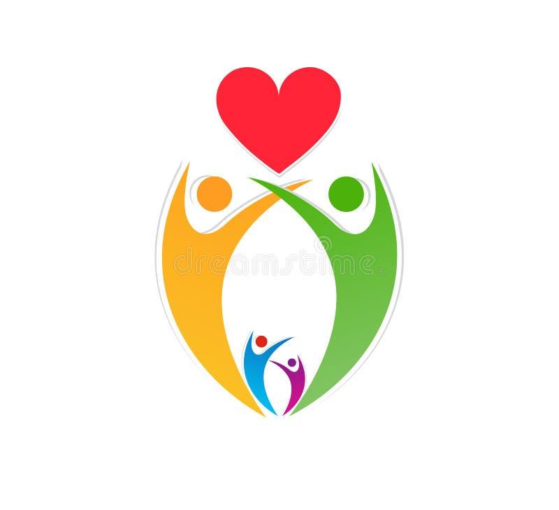 Folk ungar med den röda illustrationen för vektor för design för logo för symbol för hjärtalogosymboler vektor illustrationer