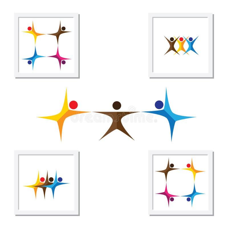 Folk, vänner, symboler för barnvektorlogo och designbeståndsdelar stock illustrationer
