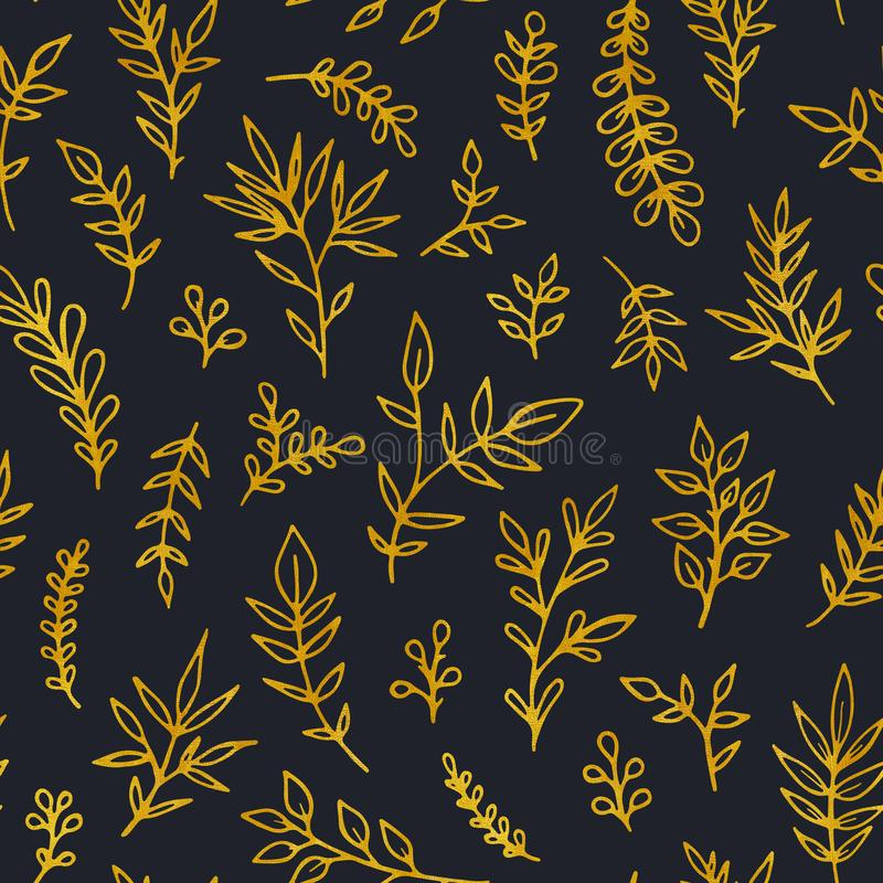 Folk vintage raster seamless pattern. Ethnic floral motif dark hand drawn background. Contour tribal golden stock illustration