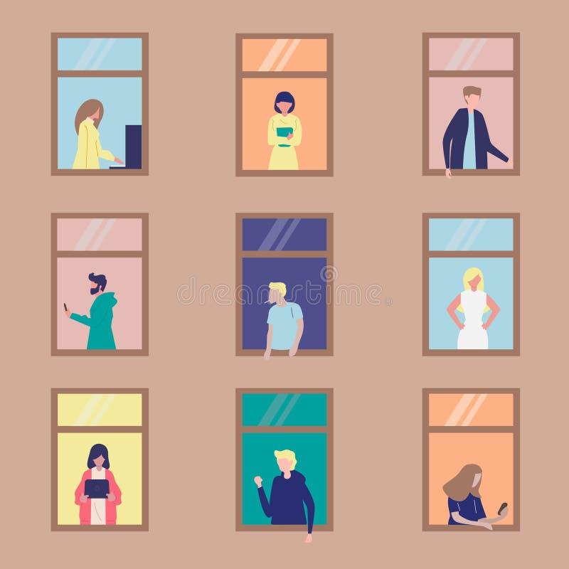 Folkaktivitet i lägenhet royaltyfri illustrationer