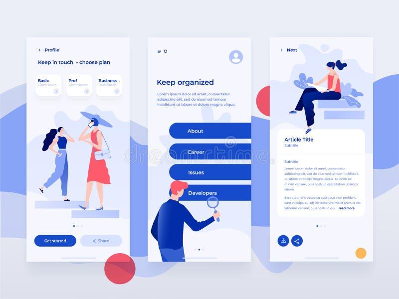 Folkarbete och växelverkan med apparater Lägen för dataanalys och kontors Plan illustration Mobil app-mall stock illustrationer