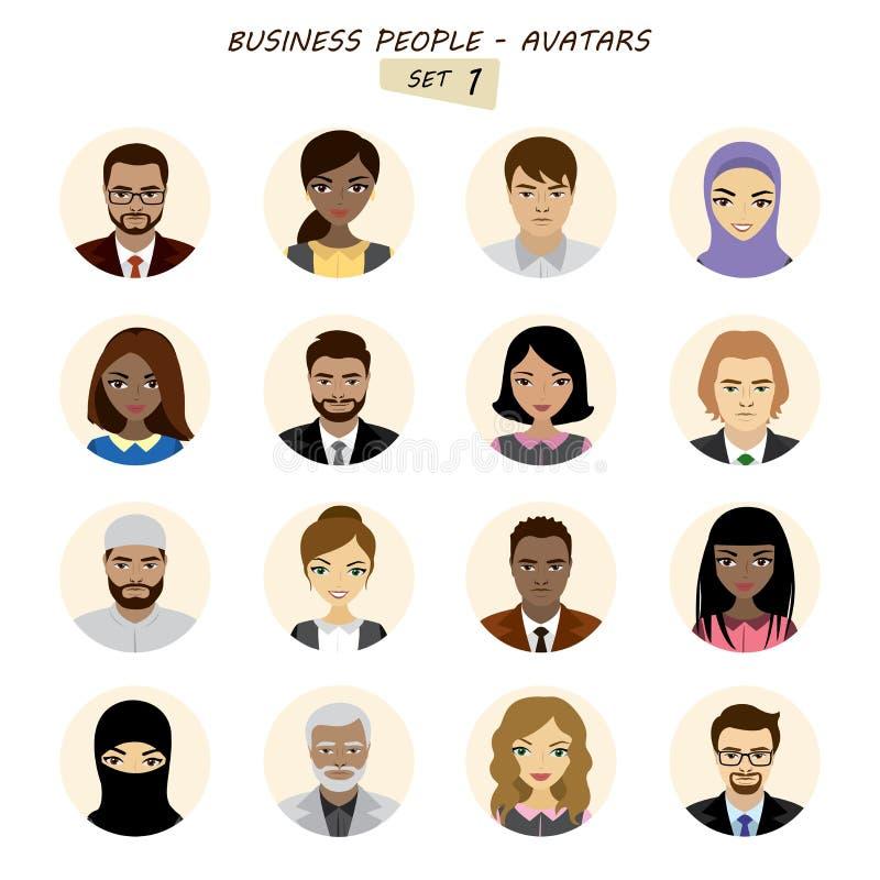 Folkavatarssamling, affärsman och affärskvinna vektor illustrationer