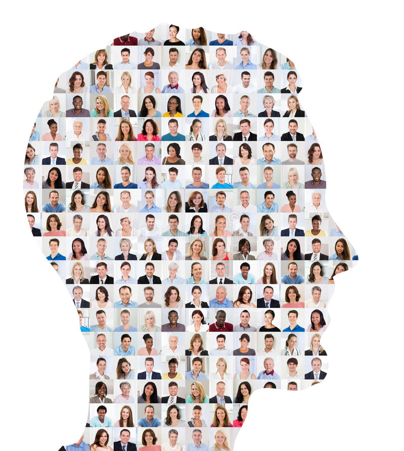 Folkcollagebegrepp på mänsklig framsida arkivfoto