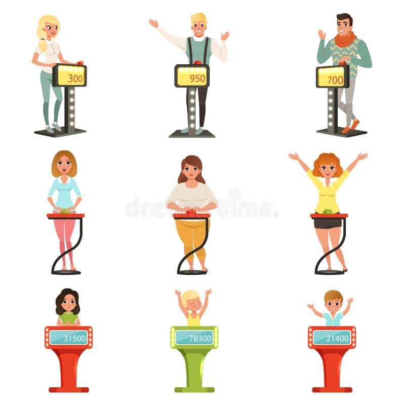 Folkdeltagande på frågesportshowuppsättningen, spelare som svarar frågor som står på ställningen med knappvektorillustrationer stock illustrationer