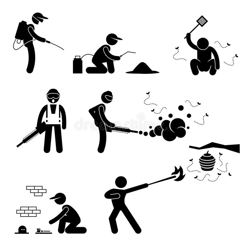 Folkdesinfektör Pest Control Pictogram stock illustrationer