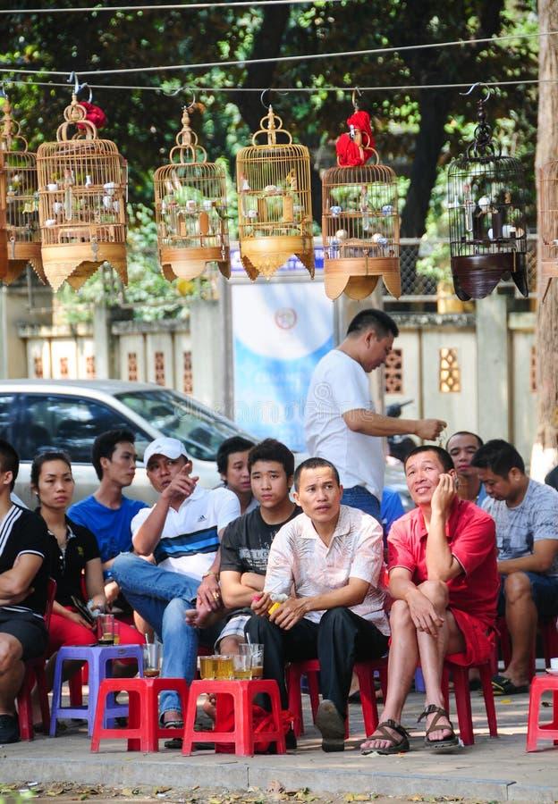 Folkdrinkkaffe, te i Hanoi arkivbilder