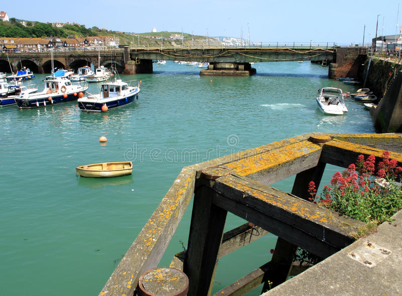 Folkestone Harbour. An image showing the harbour at Folkestone stock photo