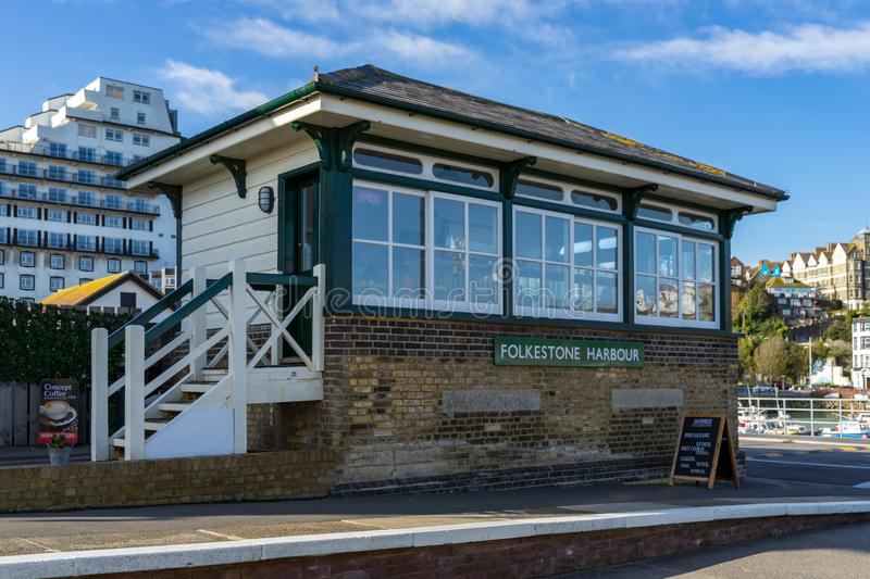 View of the restored signal box at the Harbour railway station in Folkestone on November 12, royalty free stock photos