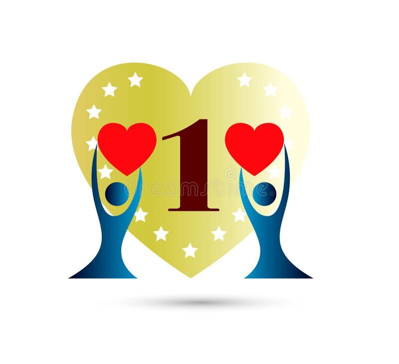 Folket älskar årsdagen, 1 år med den mångfärgade symbolen för hjärtaform Kan anv?ndas f?r reng?ringsduk, logo, mobil app, etc. stock illustrationer