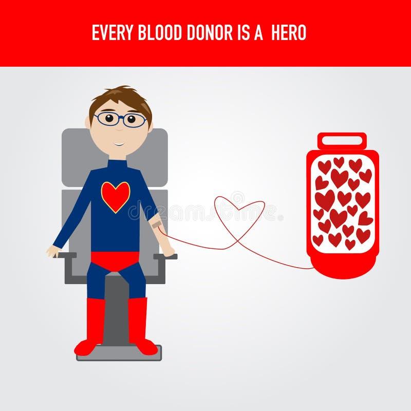 Folket är hjälten för vektor för bloddonation royaltyfri illustrationer