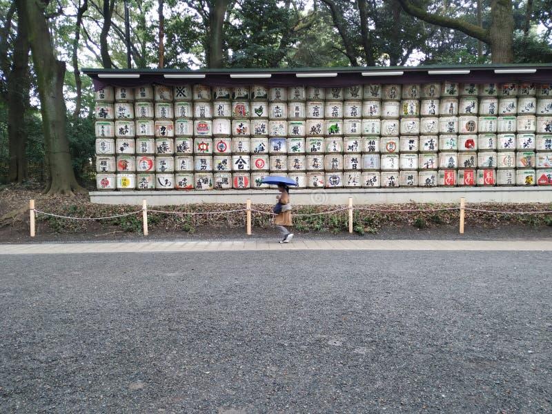 Folket är i den Meiji relikskrin royaltyfri foto