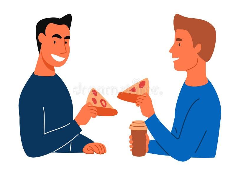 Folket äter pizza vektor illustrationer