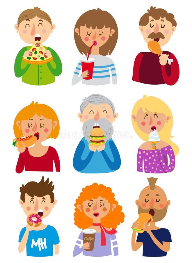 Folket äter snabbmat royaltyfri illustrationer