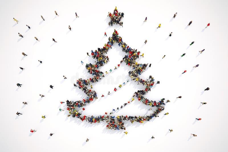Folket bildar formen av ett julträd framförande 3d royaltyfri illustrationer