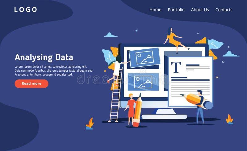 Folket bygger en instrumentbräda och påverkar varandra med grafer på det mörkt - blå backgroung Dataanalys och kontorslägen stock illustrationer
