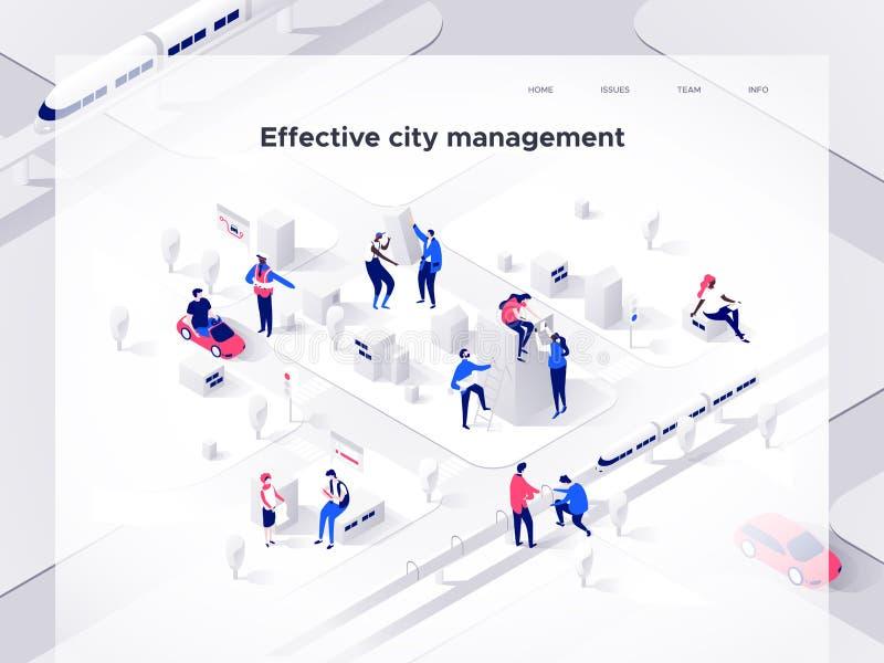 Folket bygger en isometrisk stad Smart teknologi och affär Landa sidamallen isometrisk illustration för vektor 3d stock illustrationer