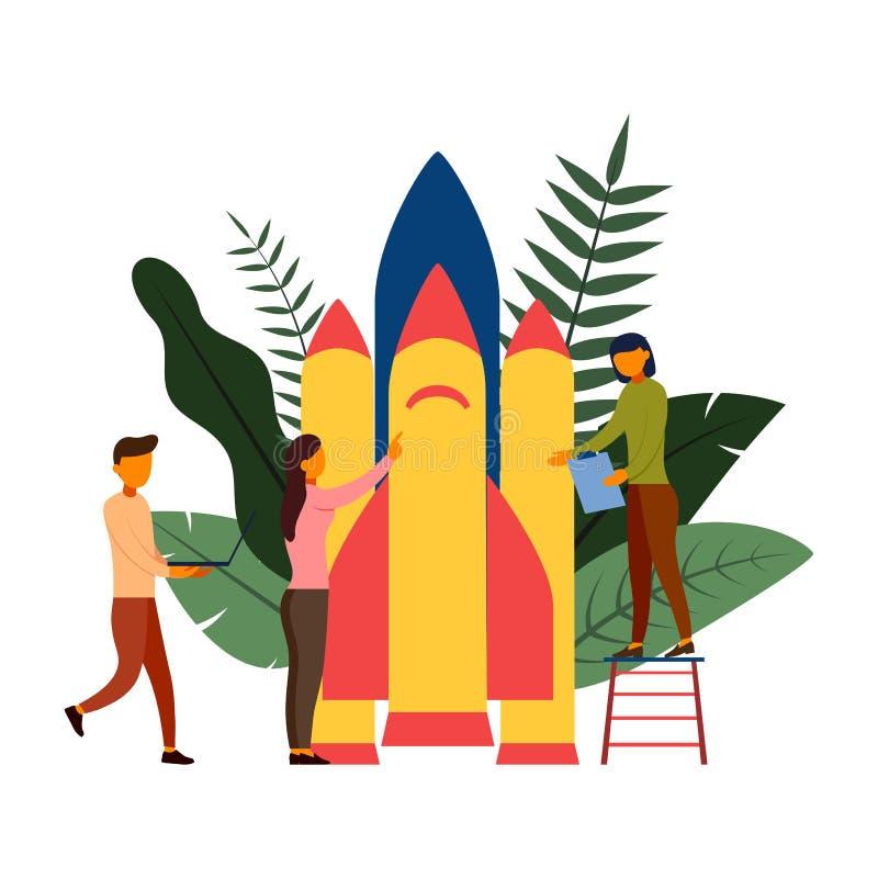 Folket bygger en rymdskeppraket, vektorillustration vektor illustrationer
