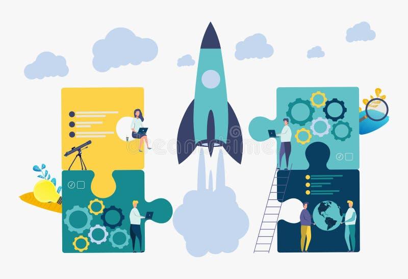 Folket bygger ett raketrymdskepp Fast teamwork i en start Färgrik affärsillustration för vektor royaltyfri illustrationer