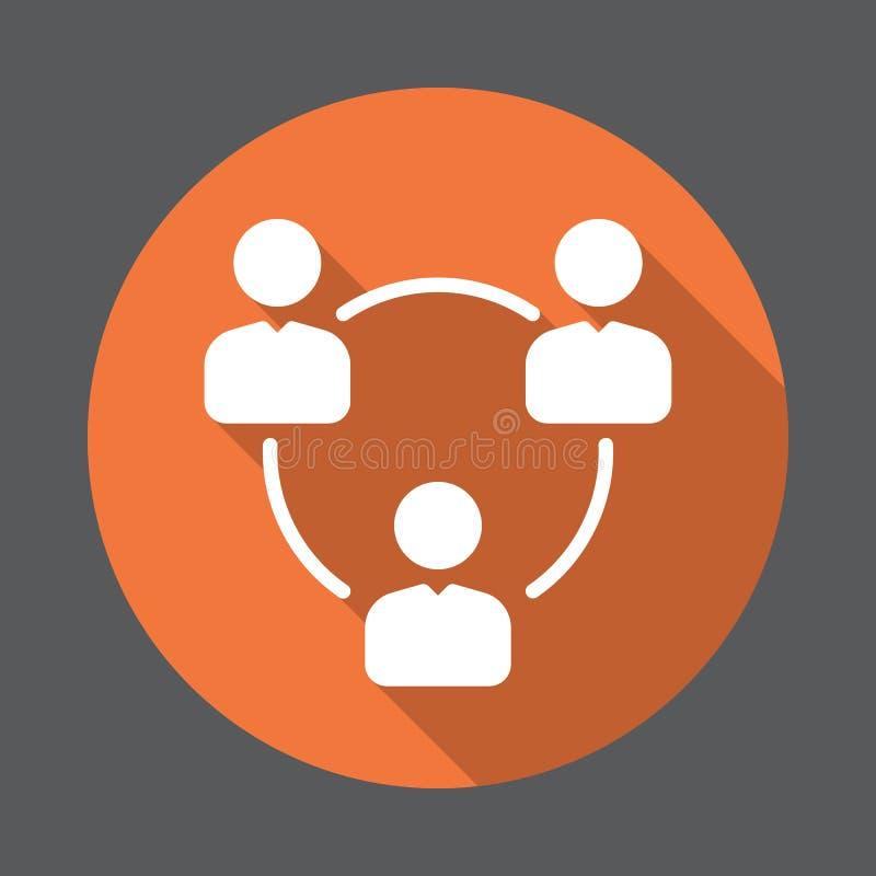 Folket cirklar, gruppen av den plana symbolen för användare Rund färgrik knapp, runt vektortecken med lång skuggaeffekt royaltyfri illustrationer