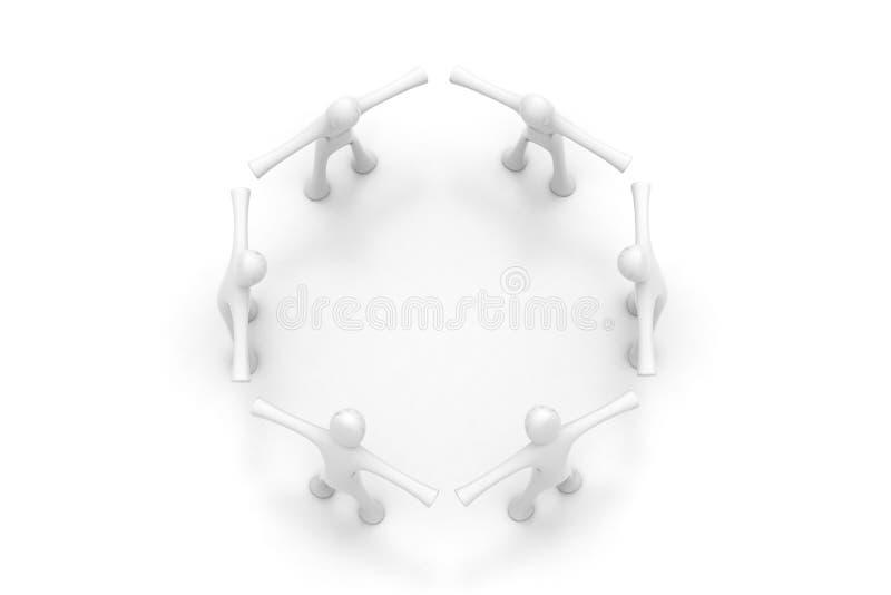 folket 3d skapar en cirkel vektor illustrationer