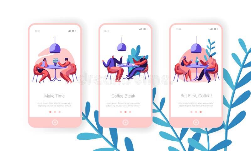 Folket dricker den mobila Appsidan för kaffe Onboard skärmuppsättning Man och kvinna som talar på kafétabellen Begrepp för affärs vektor illustrationer