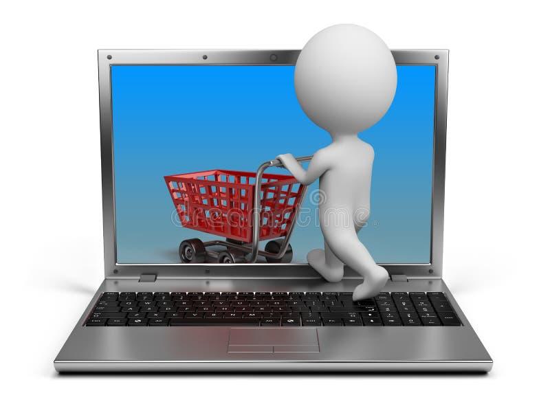 folket för internet 3d shoppar litet stock illustrationer
