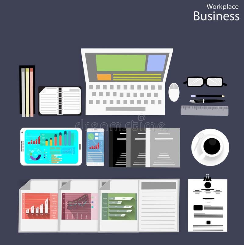 Folket för vektorarbetsplatsaffär beskådar bruket av moderna kommunikationsteknologier, anteckningsböcker, minnestavlor, mobiltel royaltyfri illustrationer