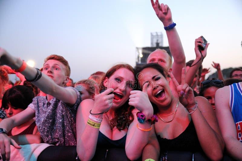 Folket från folkmassan (fans) håller ögonen på en konsert på FIB festivalen royaltyfri bild