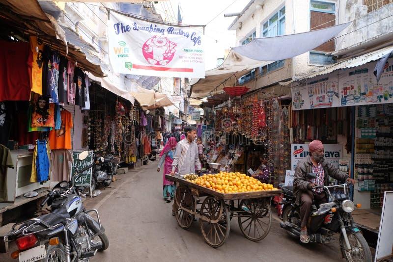 Folket går runt om centrum i Pushkar, Indien royaltyfria foton