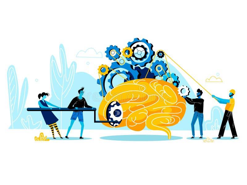 Folket grupperar att försöka att starta upp den enorma mänskliga hjärnan royaltyfri illustrationer