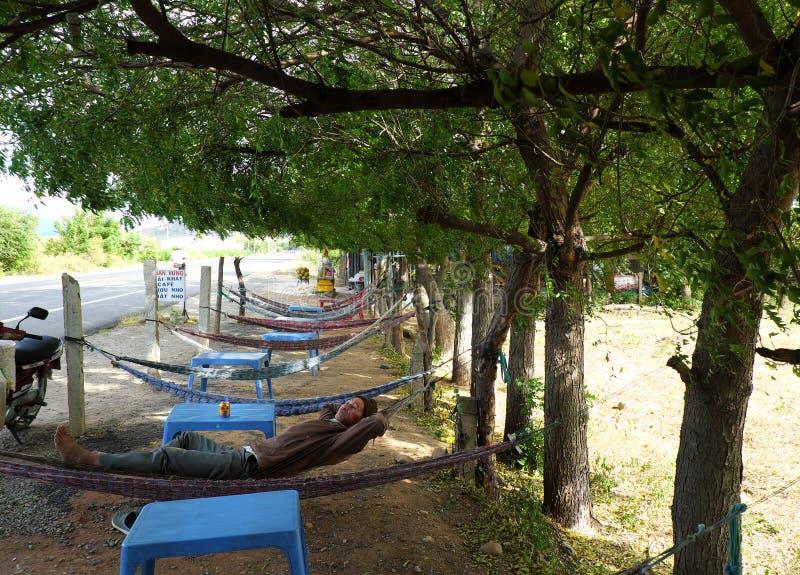 Folket har en vila under trädskugga royaltyfri foto