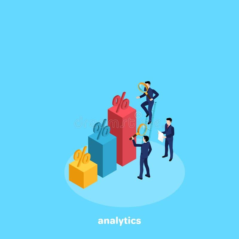 Folket i affärsdräkter analyserar datan från ett diagram vektor illustrationer